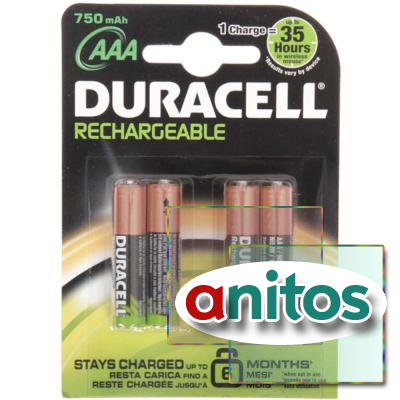 Duracell AAA750mAh/4BL Аккумулятор Recharge