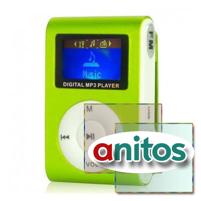Perfeo цифровой аудио плеер Music Clip Titanium Display, зелёный (VI-M001-Display Green)