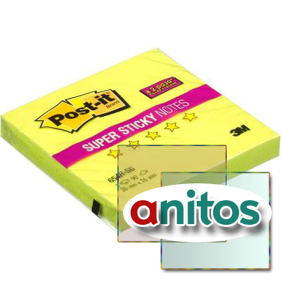 Блок-кубик Post-it Super Sticky 654R-SG, 76х76 зеленый,90л.
