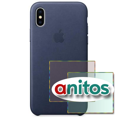 Чехол Apple iPhone X Leather Case - Midnight Blue(MQTC2ZM/A)