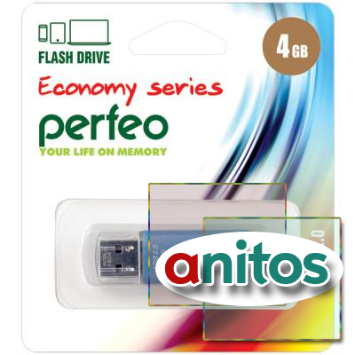 флэш-накопитель Perfeo USB 4GB E01 Blue economy series