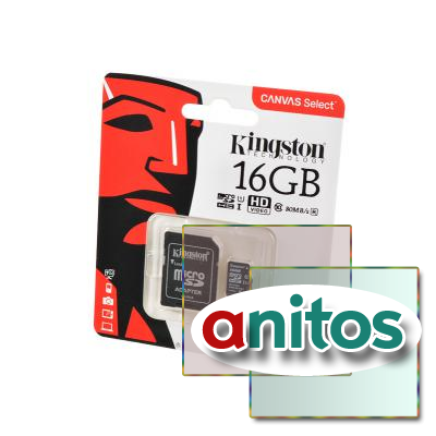 KINGSTON CANVAS Select microSD 16GB (Class 10) UHS-I с адаптером BL1