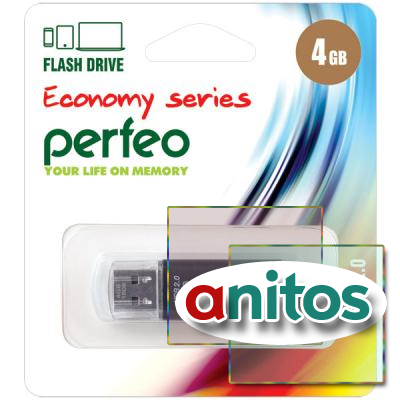 накопитель USB Perfeo USB 4GB E01 Black economy series