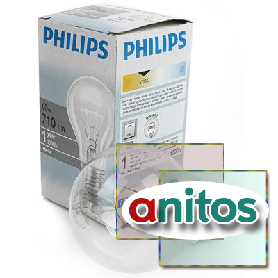 Лампа накаливания PHILIPS A55 60W E27 CL 354563