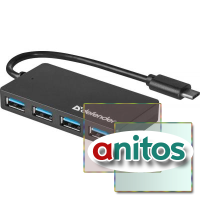 Разветвитель USB Defender Quadro Transfer USB3.1 TYPE C - USB3.0, 4 порта