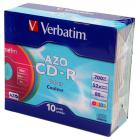 Компакт диск CD записываемый Verbatim 43308 CD-R 80 52х DL + SL/10 Color